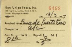 New Union Press, Inc. payment receipt