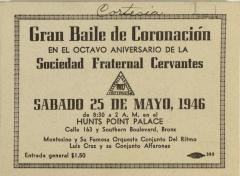 Gran Baile de Coronación En El Octavo Aniversario De La Sociedad Fraternal Cervantes / Great Coronation Dance on the Eighth Anniversary of the Fraternal Society Cervantes