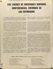 Los Lideres de Sociedades Hispanas Confederadas, Enemigos de Los Refugiados / The Leaders of Hispanic Confederate Societies, Enemies of Refugees