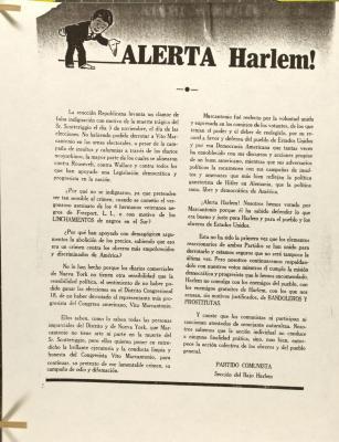 Alerta Harlem! / Warning Harlem!