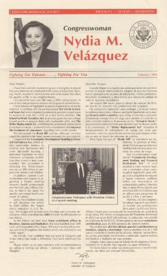 Newsletter from Congresswoman Nydia Velazquez, 12th Congressional District