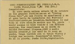 Coro Puertorriqueño del Pueblo, I.W.O. / Puerto Rican People's Choir