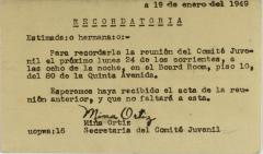 Correspondence from Mina Ortiz of Sociedad Fraternal Cervantes