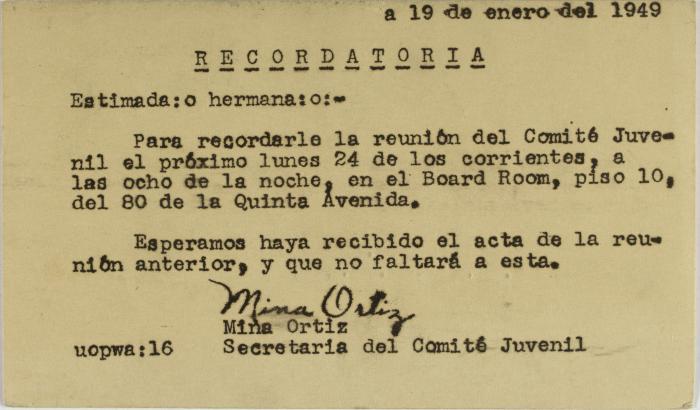 Correspondence from Mina Ortiz of Sociedad Fraternal Cervantes