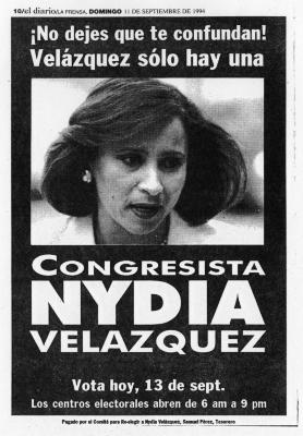 Newpaper ad for Congresswoman Nydia Velazquez