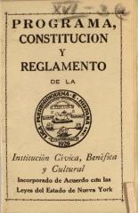 Programa, Constitucion, Y Reglamento de la Liga Puertorriqueña E Hispana / Program, Constitution, and Regulations of the Puerto Rican and Hispanic League