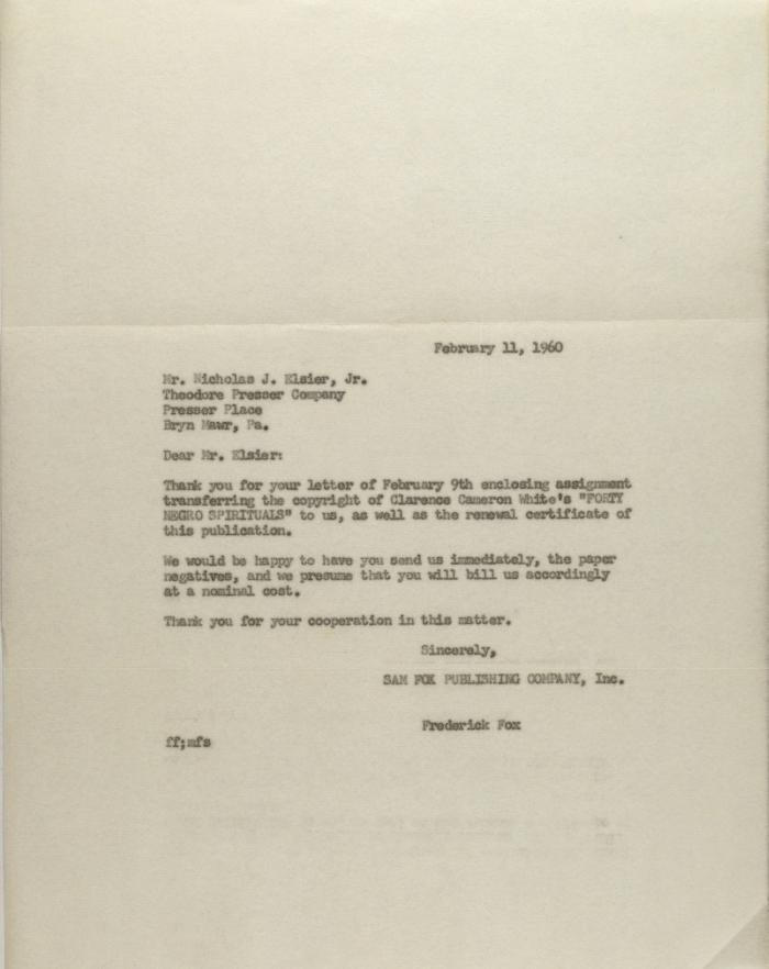 Correspondence to Theodore Presser Company