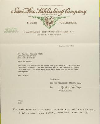Correspondence to Clarence Cameron White