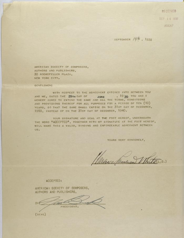 Correspondence from Clarence Cameron White