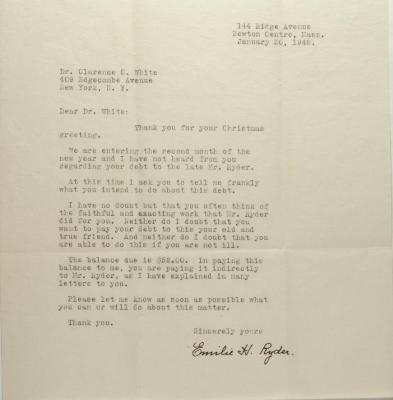 Correspondence to Clarence Cameron White