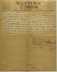 Telegram to Clarence Cameron White