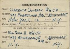 Identification Card for Clarence Cameron White
