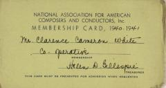 National Association for American Composers and Conductors membership card for Clarence Cameron White