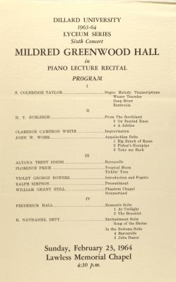 Mildred Greenwood Hall in Piano Lecture Recital