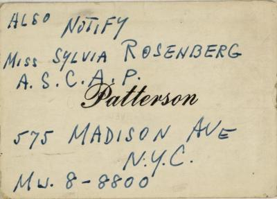 Business Card for Sylvia Rosenberg of ASCAP