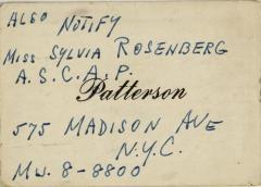 Business Card for Sylvia Rosenberg of ASCAP