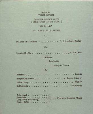 Program for Cameron Clarence White Recital