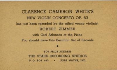 Flyer for Clarence Cameron White's New Violin Concerto Op. 63