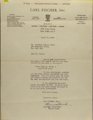 Correspondence to Clarence Cameron White.