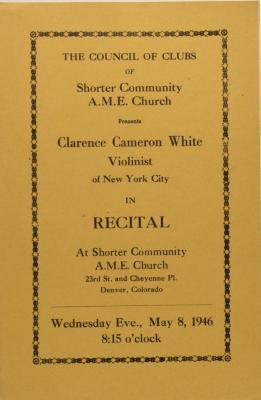 Recital Program for Clarence Cameron White
