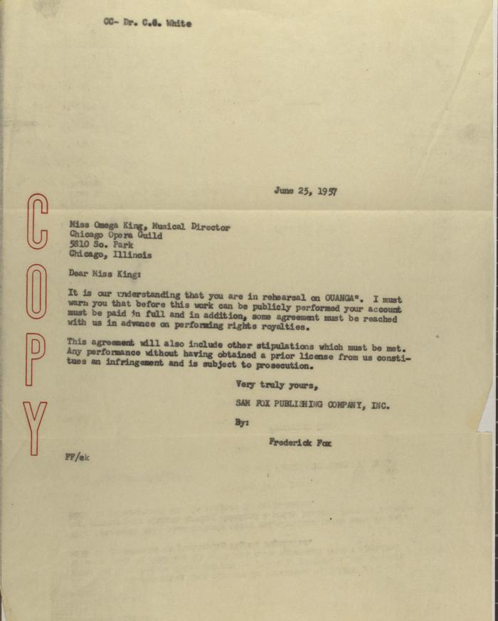 Correspondence to Chicago Opera Guild