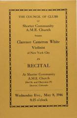 Recital Program for Clarence Cameron White