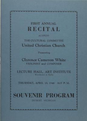 Recital for Clarence Cameron White