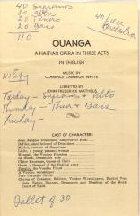 Ouanga - A Haitian Opera in Three Acts