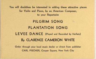 Order Card for Clarence Cameron White's Music