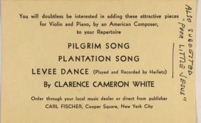 Clarence Cameron White order card