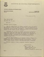 Correspondence from Instituto de Cultura Puertorriqueña