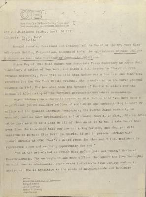 Memorandum from New York City Off-Track Betting Corporation