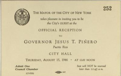 Invitation to Offical Reception for Governor Jesús T. Piñero
