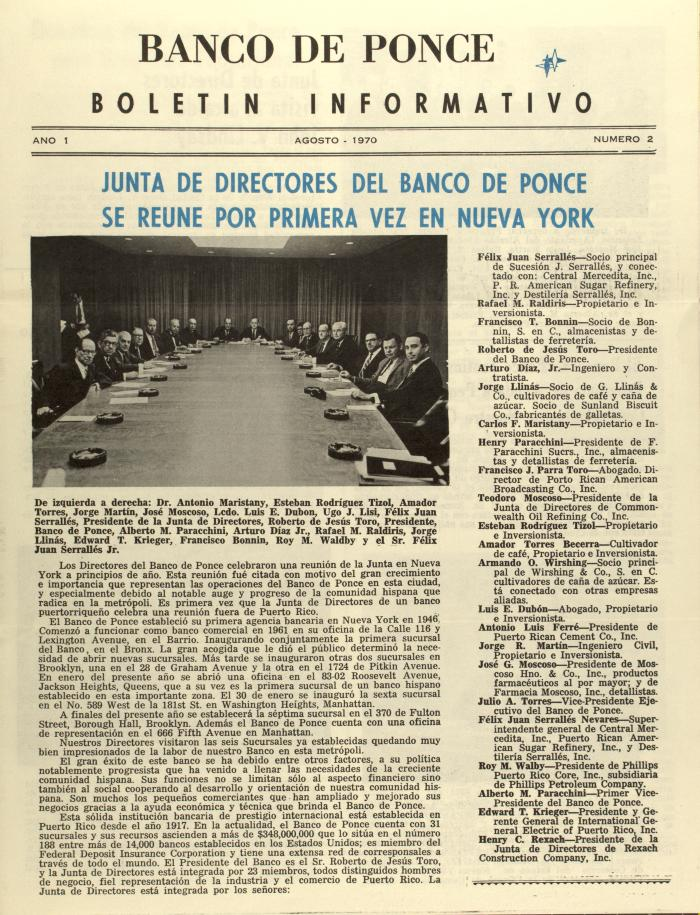 Junta de Directores Del Banco de Ponce Se Reúne Por Primera Vez En Nueva York / Board of Directors of Banco de Ponce Meet For the First Time in New York