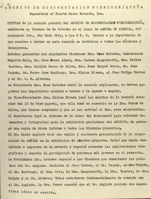 Archivo de Documentacion Puertorriqueña and ASPIRA  - Meeting Minutes