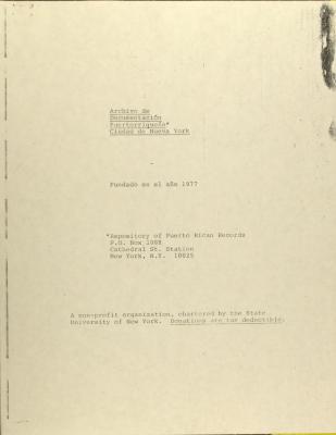 Archivo de Documentacion Puertorriqueña - Report