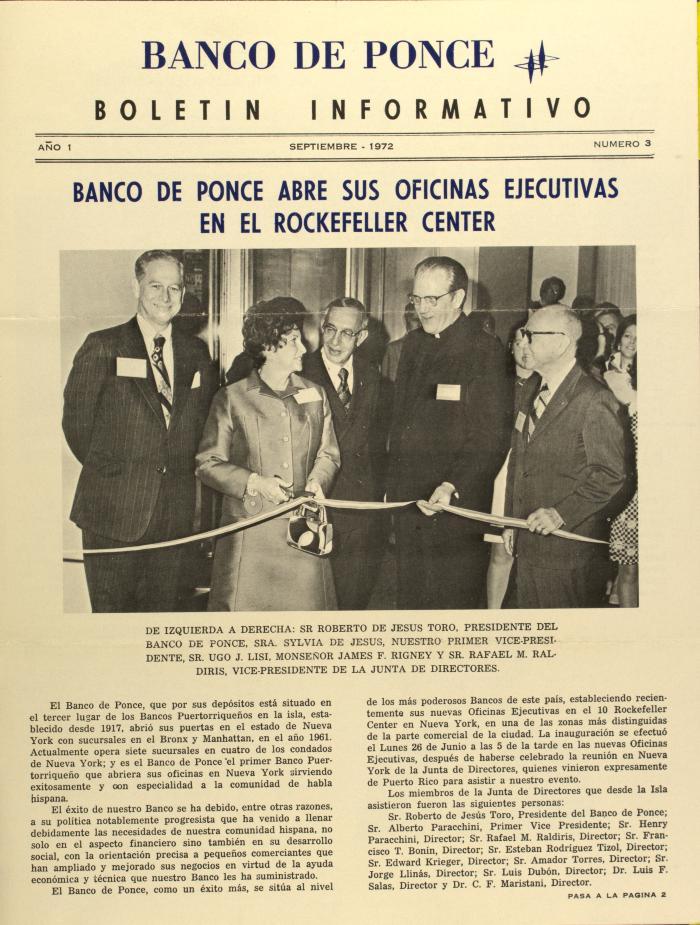 Banco de Ponce Abre Sus Oficinas Ejecutivas En El Rockefeller Center / Banco de Ponce Opens Its Executive Offices At The Rockefeller Center
