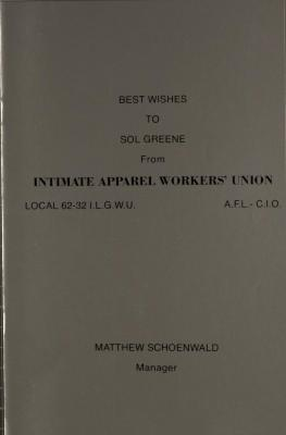 Best Wishes to Sol Green from Intimate Apparel Workers' Union