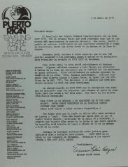 Correspondence from Miriam Colón of Puerto Rican Traveling Theatre