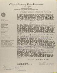 Correspondence from Círculo De Escritores Y Poetas Iberoamericanos