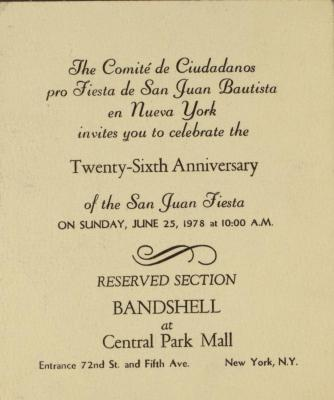 Twenty-Sixth Anniversary of the San Juan Fiesta