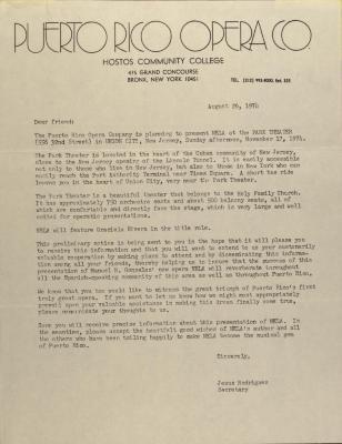 Correspondence from Puerto Rico Opera Co. of Hostos Community College