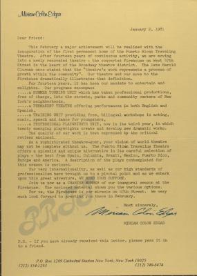 Correspondence from Miriam Colón