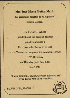 Reception in Honor of Ines Maria Muñoz Marin