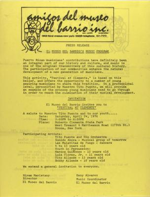El Museo Del Barrio - Programa de Música / Music Program