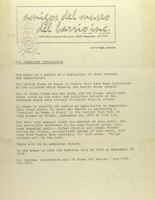 El Museo del Barrio press release