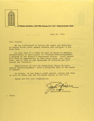 Correspondence from El Museo Del Barrio