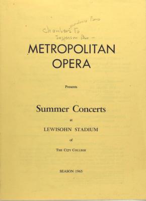 Metropolitan Opera Presents Summer Concerts