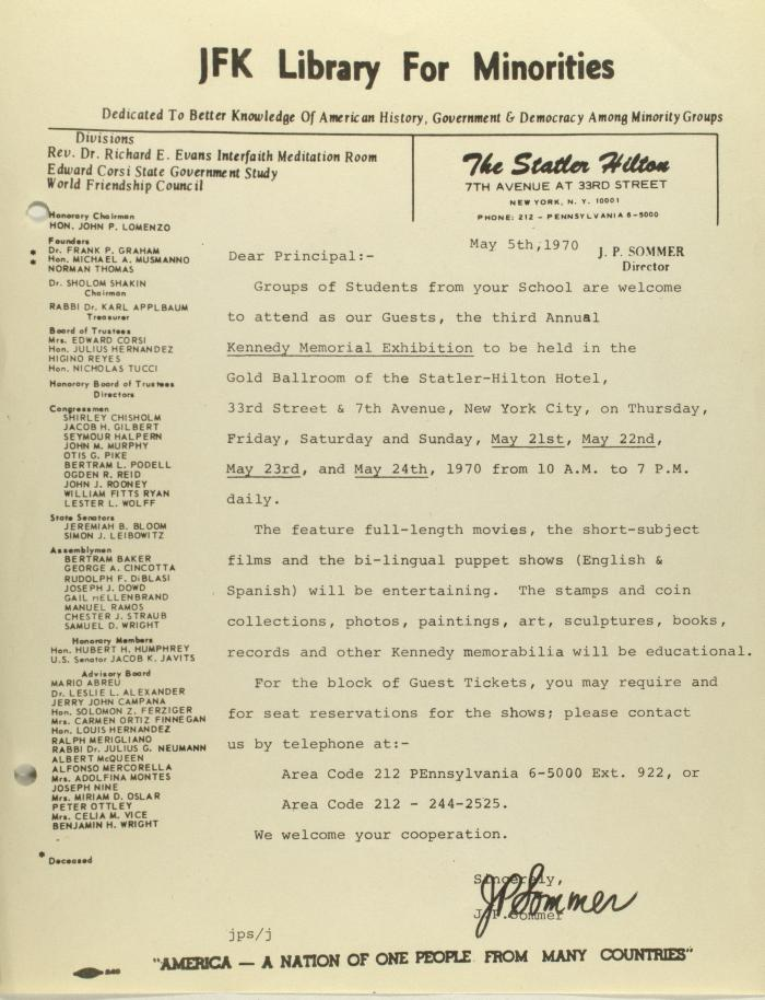 Correspondence from JFK Library for Minorities