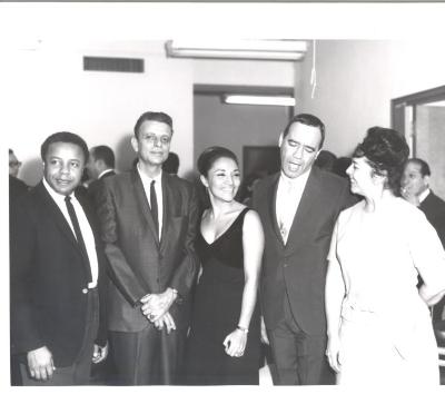 René Marqués, Miriam Colón, and Bobby Capó at the opening of La Carreta (The Oxcart)